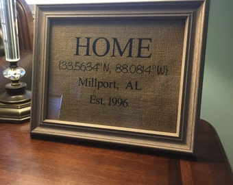 8x10 Home Coordinates (frame included)