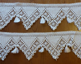 """Vintage Hand Crocheted Edging - 2 pieces - 18"""" X 5"""" each"""