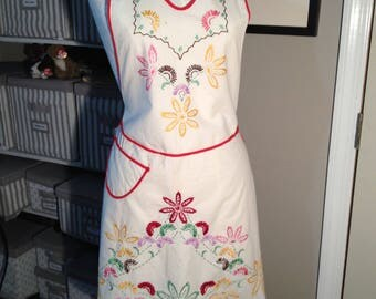HANDMADE Vintage Embroidered Apron