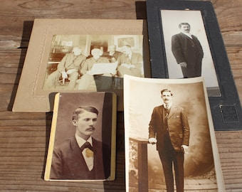 Vintage Collection of Four 1800's Victorian Era Cabinet Photos