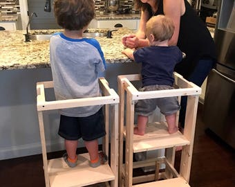 Child Kitchen Helper,  Step Stool, Toddler Stool, Tot Tower, Mommy's Helper, Safe Step Stool