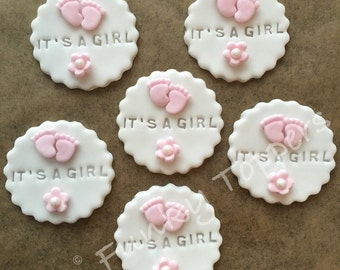 Edible Sugar Paste Cupcake Toppers Baby Girl Pink Boy Blue Shower Christening It's A Girl Its A Boy