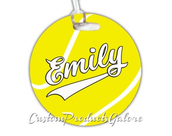 Tennis Bag Tag, Round Tennis Sports Bag Tag, Luggage Tag, Tennis Team Gift, Player Gift, Athlete Gift, Youth Sports Bag Tag, Gym Bag Tag