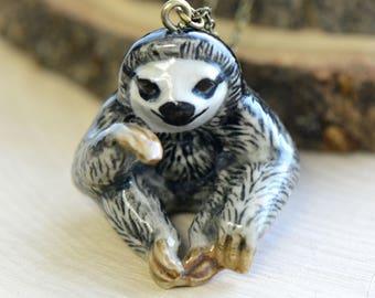 Hand Painted Porcelain Sitting Sloth Necklace, Antique Bronze Chain, Vintage Style, Ceramic Animal Pendant & Chain (CA063)