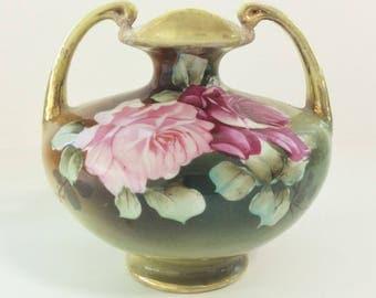 Antique Nippon (1891-1911) Hand Painted Porcelain Vase, Vintage Japanese Ceramic