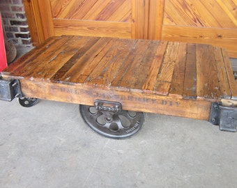 Factory Cart coffee table Restored Vintage Lineberry 17014