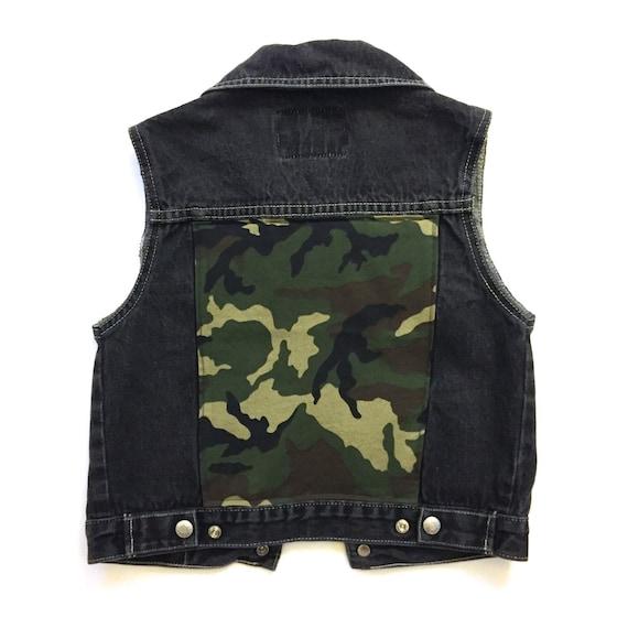 Kids 39 camo black denim vest 7 8 kids clothing boys for Dark denim toddler shirt