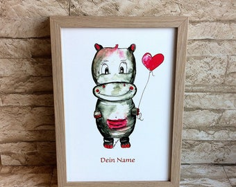 Nursery picture Hippo - with name