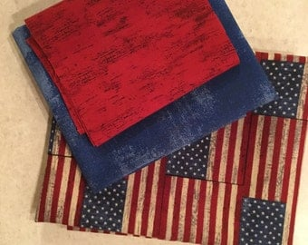 Patriotic American Flag Pillowcase Kit Moda Fabrics 100% Cotton Fabric