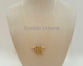 Raw Quartz Necklace -Gold Quartz- Layering Necklace-Gifts for Her-Unique Pendants -Boho/ Minimalist / Cool Jewelry by Societe Urbane SU023