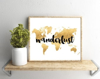 Printable Wall Art, Wanderlust, Gold Map, Home Decor, Instant Download