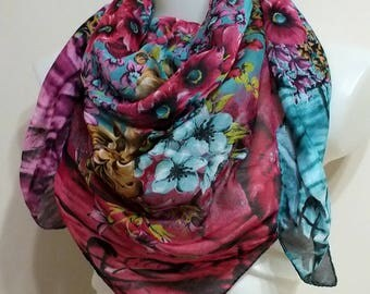 SALE!!! Cotton square scarf Summer scarf Spring scarf Women Fashion accessories Mothers day Gift for Mom Cotton Pareo Turkish scarf
