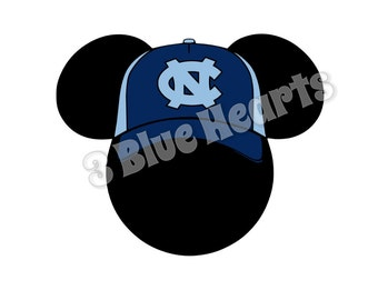 North Carolina Mickey Head Svg Studio dxf pdf, Baseball Mickey Head, Disney SVG dxf pdf Studio