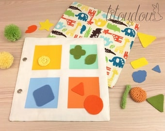 SELECTION page, quiet book à la carte, colors learning, sizes learning, sorting, Montessori inspired, gift for kids