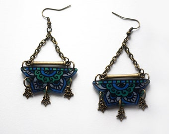 Fluorescent Lotus Collection Mandala earrings