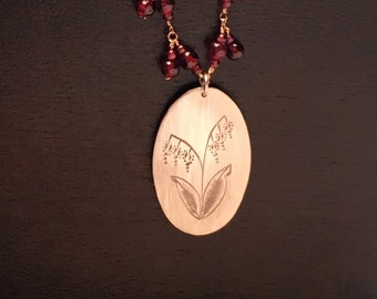 Lilly of the Valley Necklace with Garnet