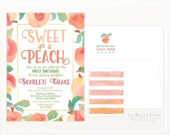 SWEET as a PEACH Birthday Party invitation with watercolor peaches and striped backing
