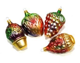 VINTAGE: 4 Glass Fruit Ornaments - Kurt s Adler Ornaments -  Made in Colombia - SKU 29-B-00006881