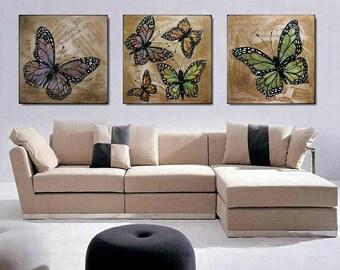 Butterflies, original painting,set of 3 peace