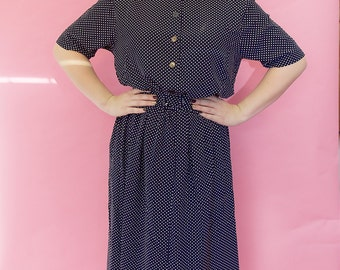 1989's navy blue polka dot dress