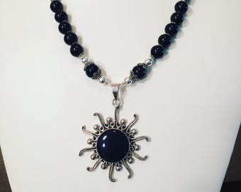 Black Onyx Sun Necklace