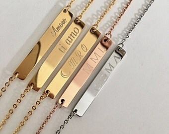 Initial Gold Bar Necklace, Bridesmaid Gift, Personalized Bar Necklaces, Symbol Necklaces, Custom Necklace, Personalized Gifts