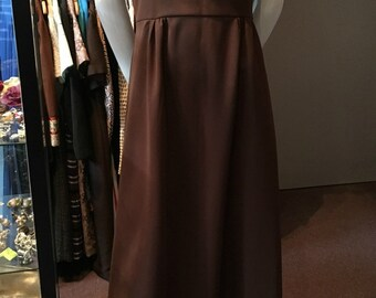 Vintage 1970s Brown Polyester Maxi Dress Styled by London - Size 6