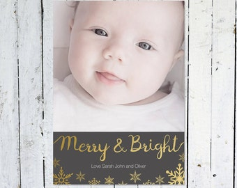 Photo Christmas Cards, Photo Holiday Cards, Merry And Bright, Printable Christmas Cards, Snowflakes, Full Photo