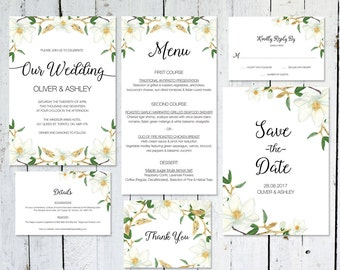 Wedding Invitation Set, Magnolia, Save The Date, Floral, Watercolor, RSVP Card, Details Card, Printable, Thank You Card, Wedding Suite, Menu