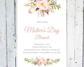 Mother's Day Invitation, Mothers Day Brunch, Floral, Digital, Watercolor, Boho, Printable, Printed