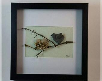 Pebble Art  Momma Bird with her Nest