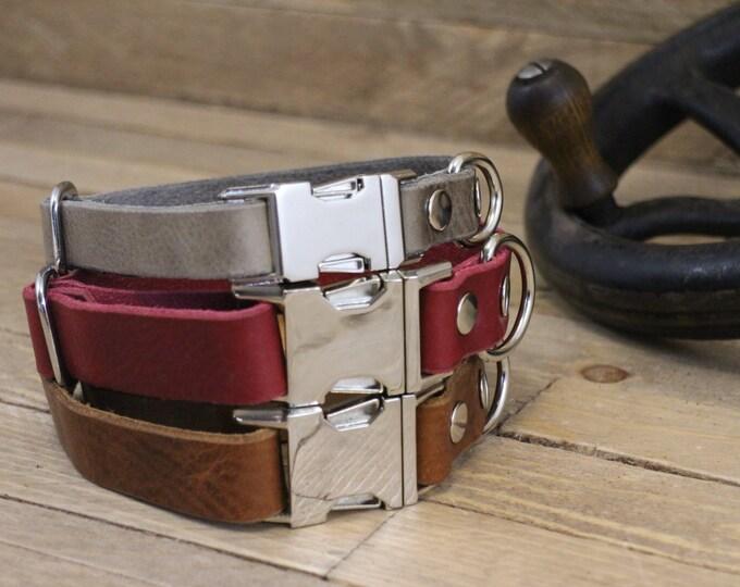 Leather dog collar, ID address tube, Clasp leather collar,Handmade dog collar, Pet gift, Metal side release buckle, Rustic collar, Collar.