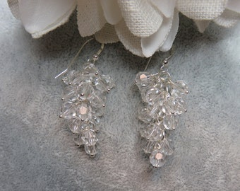 Clear Crystal Cluster Earrings w/ Sterling Silver Ear Wires