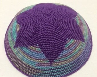 Purple Funk Star of David Kippah