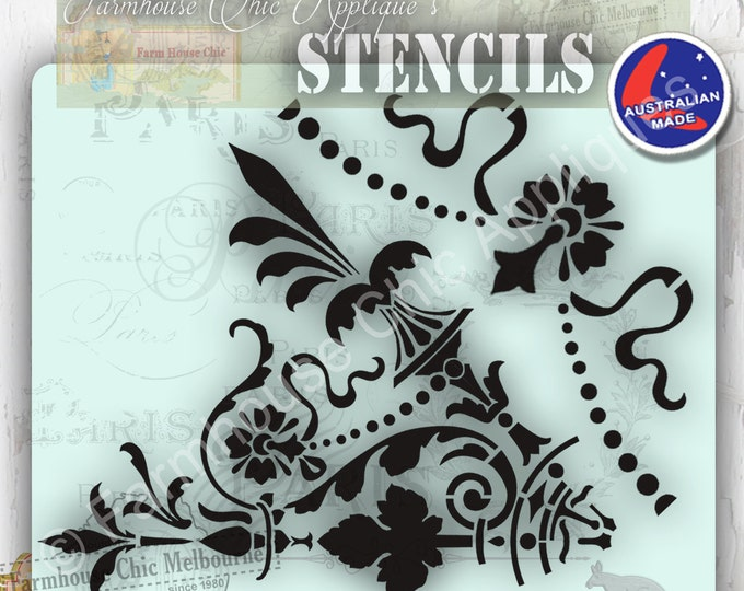 Create a Huge 45 cm Mandala Furniture Stencil! French Vintage Stencil, Artist Stencil, Furniture Decoration, Wall Stencil. With Borders!