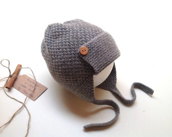 READY TO SHIP - 100% cashmere earflap pilot aviator hat, color Medium grey melange, handknitted , Size 2-3 years
