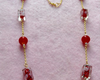 Rose Gold Plated Red Beaded Necklace.