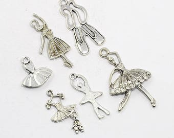 6pc  Antique Silver Ballerina Charm Set (B161d)