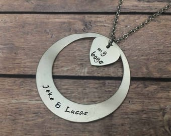Mother's day gifts - Personalized sons name baby necklace - My boys necklace heart jewelry - Lulu Stamped personalized gifts for mom friend