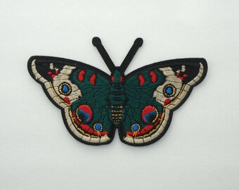 5 Inches Dark Green Moths Embroidered Iron On Applique Patches DIY