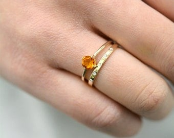 Natural Citrine Ring Solitaire Ring, 14k Solid Gold Gemstone Ring, Natural Gemstone Ring, November Birthstone Ring,Orange Gold Gemstone Ring