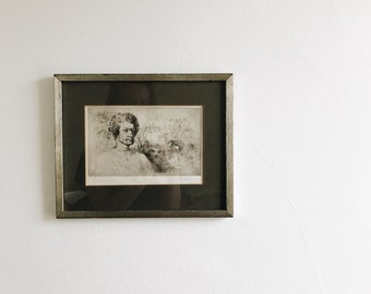 vintage framed signed etching of dionysus by thomas cornell