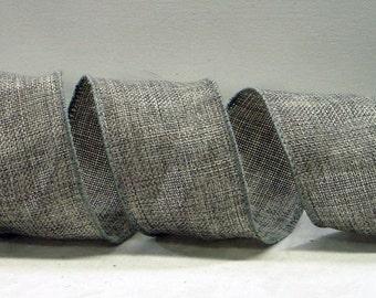 Wired Burlap Ribbon ~ 2.5 inch  Grey Wired Burlap Ribbon ~ Natural Jute Ribbon ~ Ribbon For Wreaths & Crafts ~ 3 Yards