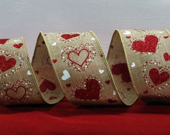 Wired Valentine's Day Ribbon ~ 2.5 inch  Natural Faux Linen Ribbon White & Glitter Red Hearts ~ Valentines Craft / Decor Ribbon ~ 3 Yards