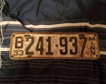 1933 Minnesota license plate