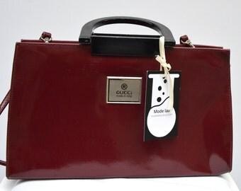 Authentic Vintage GUCCI burgundy bag / 80s
