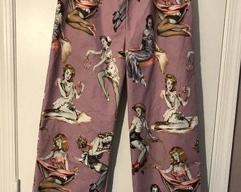 Beauties with Brains Zombie Pin Up Girls Pajama Pants