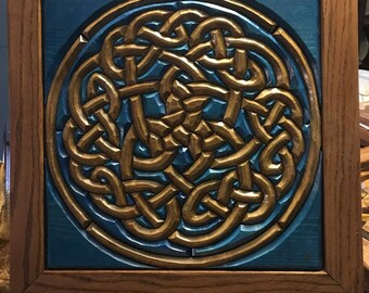Hand-Carved Wood Intarsia Wall Art Celtic Royal Knot Blue