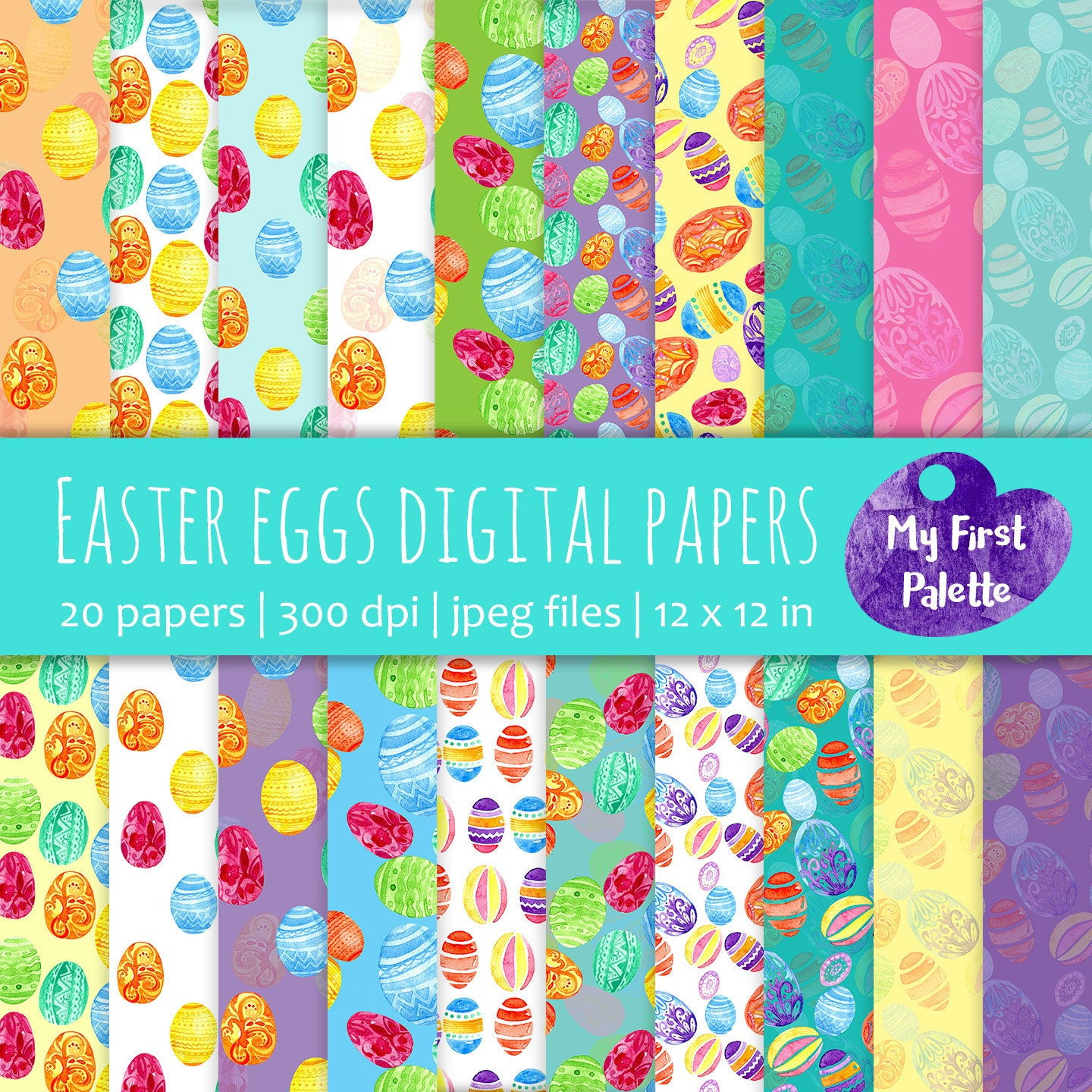 Easter eggs digital paper easter gift wrap printable wrapping this is a digital file negle Image collections