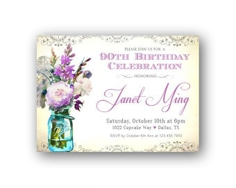 Adult Birthday Invitations for Her / 90th Birthday for a Woman / Purple, Lavender Florals / Women's 90th Birthday Invitation / Digital File